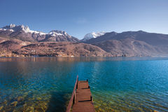 Wooden Pier Lake Mountains Royalty Free Stock Photography