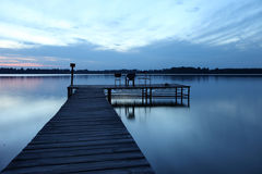Wooden pier at the lake Stock Photo