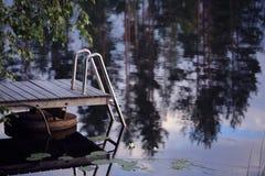 Wooden pier on lake Royalty Free Stock Photos