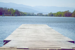 Wooden Pier In Lake royalty free stock photos
