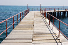 Wooden pier on the lake. And sunset - panorama in bavaria / germany Royalty Free Stock Photo