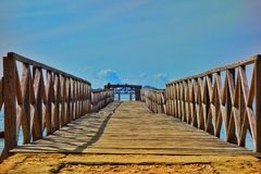 A wooden Pier on Komodo Island, Indonesia stock photos