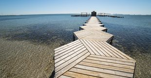 Wooden pier in the Lesser Sea stock photography