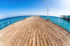 Wooden pier at Limassol's seafront promenade. Cyprus Stock Photo
