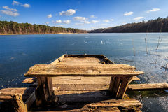 Wooden pier. Lonely wooden pier at the beginning of spring. Landscape photography Stock Photography