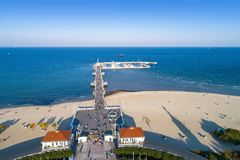 Wooden pier with marina in Sopot resort, Poland. Aerial view stock image