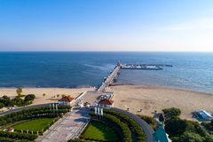 Wooden pier with marina in Sopot resort, Poland. Aerial view Stock Photos