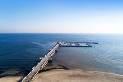 Wooden pier with marina in Sopot resort, Poland. Aerial view royalty free stock photo