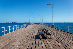 Wooden pier on the Mediterranean Sea, Limassol, Cyprus Stock Image