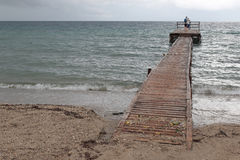 Wooden pier at Messonghi, Corfu Stock Photos