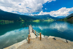 Wooden pier on the mountain like Stock Image