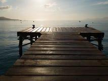 Wooden pier in Muro beach, Majorca island, Europe Royalty Free Stock Photos