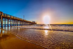 Wooden pier in Newport Beach. California Royalty Free Stock Photo