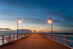 Wooden pier at night. Wooden pier,Poland,Gdynia Orłowo Stock Image