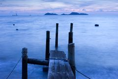 Wooden Pier and Ocean view in Long Exposure Royalty Free Stock Photo