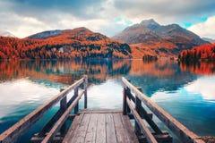 Free Wooden Pier On Autumn Lake Sils Royalty Free Stock Photo - 161071675