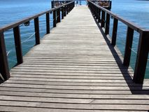 Wooden pier over lake Stock Photo