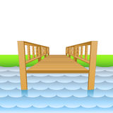 Wooden pier over the river with beach vector Royalty Free Stock Images