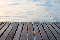 Wooden pier over the sea stock photo