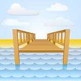 Wooden pier over the water with beach and sky vector Royalty Free Stock Photography