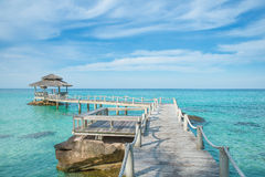 Wooden pier in Phuket, Thailand. Summer, Travel, Vacation and Holiday concept - Wooden pier in Phuket, Thailand Royalty Free Stock Photos