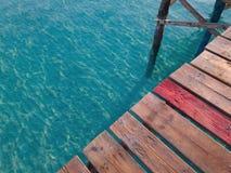 Wooden pier in Playa de Muro near Alcudia, Spanish island Mallorca Royalty Free Stock Image
