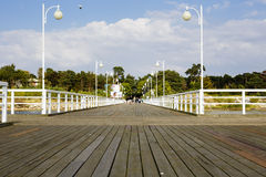 Wooden pier in Poland in Jurata Royalty Free Stock Image