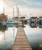Wooden pier, port of Grimaud, France