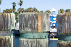 Wooden pier pylons Royalty Free Stock Photography