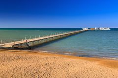 Wooden pier at the Red Sea in Hurghada. Egypt Stock Image