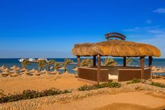 Wooden pier at the Red Sea in Hurghada. Egypt Royalty Free Stock Photography
