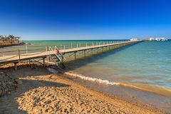 Wooden pier at the Red Sea in Hurghada. Egypt Stock Images