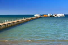 Wooden pier at the Red Sea in Hurghada. Egypt Stock Photo