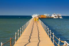 Wooden pier at the Red Sea in Hurghada. Egypt Stock Photography