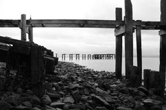 Wooden Pier Remains Stock Image