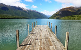 Wooden pier on Rotoiti Lake Stock Photography