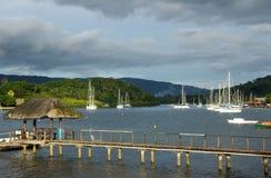 Wooden pier at Savusavu harbor, Vanua Levu island, Fiji Royalty Free Stock Images