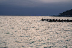 Wooden pier on sea Stock Image