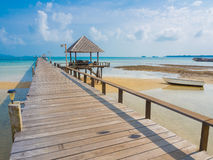 Wooden pier into the sea. On Mak Island in Trad,  Thailand Stock Images