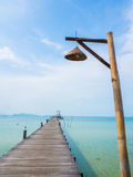 Wooden pier into the sea. Wooden pier on Mak Island in Trad,  Thailand Stock Photo