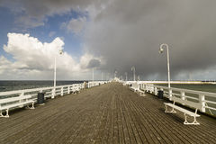 Wooden pier by the sea. Poland Royalty Free Stock Photo