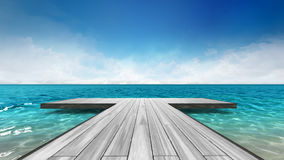 Wooden pier with sea scenery at daylight. Vacation at sea 3D background illustration Royalty Free Stock Photo