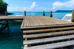 Wooden pier on sea with sky background Stock Photography