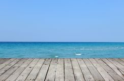 Wooden pier with sea and sky royalty free stock images