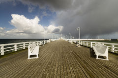 Wooden pier in Sopot sea during a storm, Poland Stock Image