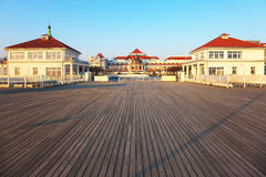 Wooden pier in Sopot. View from the pier on the beautiful architecture of Sopot, Poland Royalty Free Stock Images