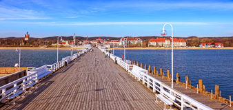 Wooden pier in Sopot. View from the pier on the beautiful architecture of Sopot, Poland Stock Images
