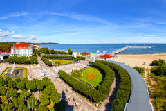 Wooden pier in Sopot. View of the pier from the old Lighthouse in Sopot, Poland Royalty Free Stock Photo