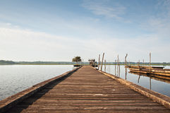 Wooden pier on Soustons lake, France Stock Images