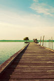 Wooden pier on Soustons lake, France Stock Photography